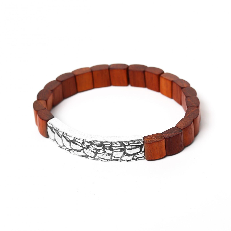 PATTERN red wood men bracelet