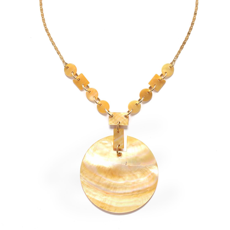 ORO round pendant necklace