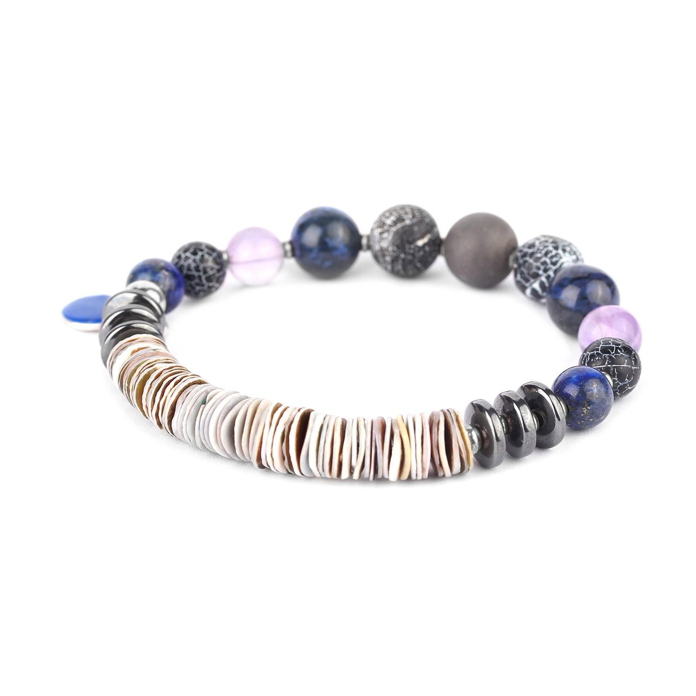 BAIKAL stretch bracelet w/heishi