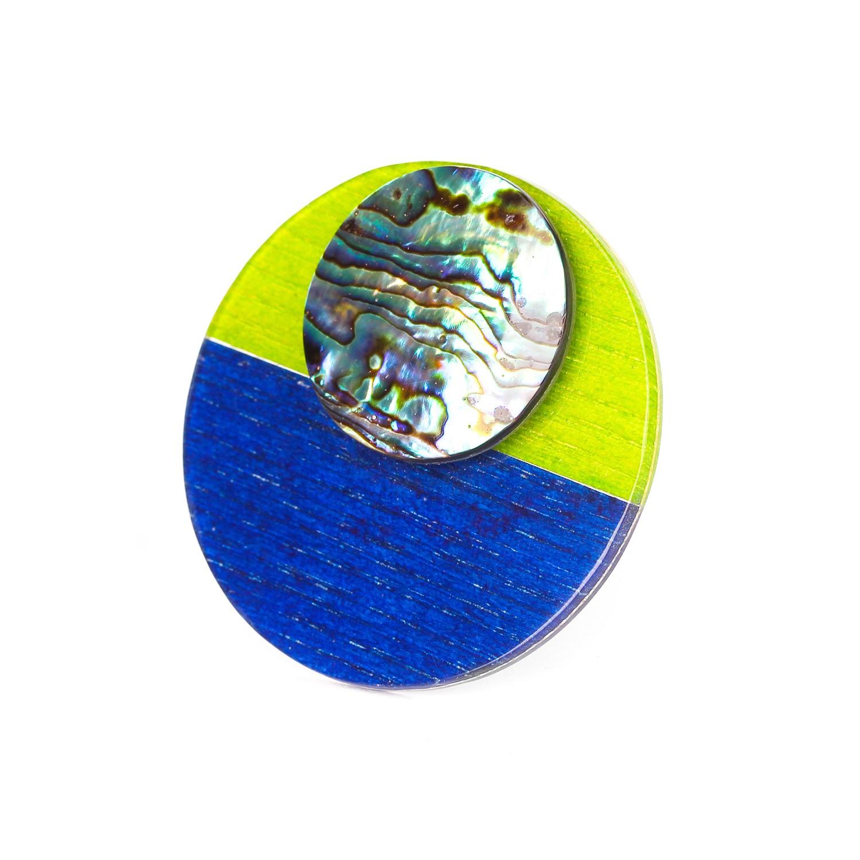 COLOR BLOC bague XL verte & bleue