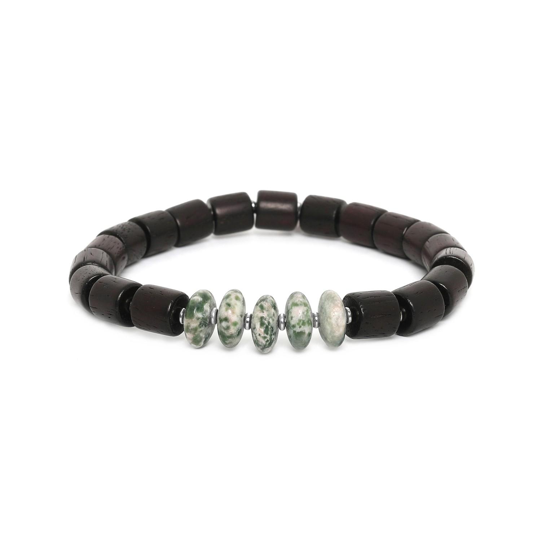 SANTAL bracelet homme extensible agate mousse