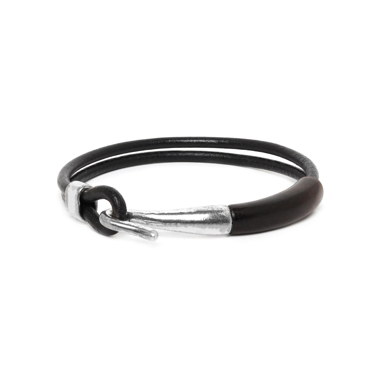 CROCHET black wood men bracelet