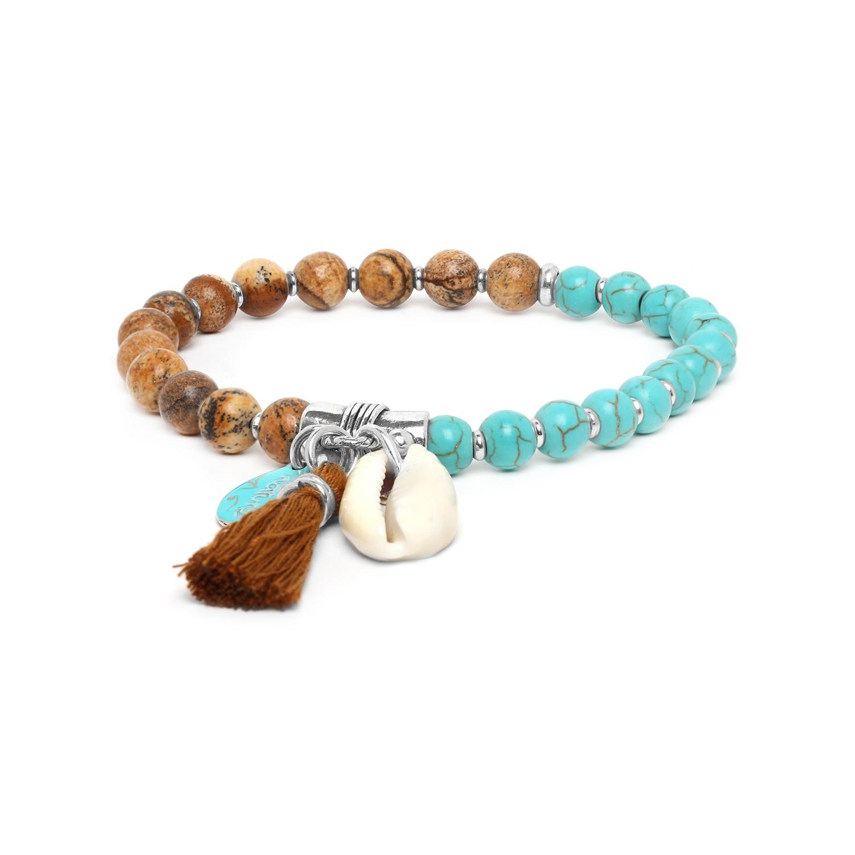 LES DUOS bracelet jaspe paysager & howlite turquoise