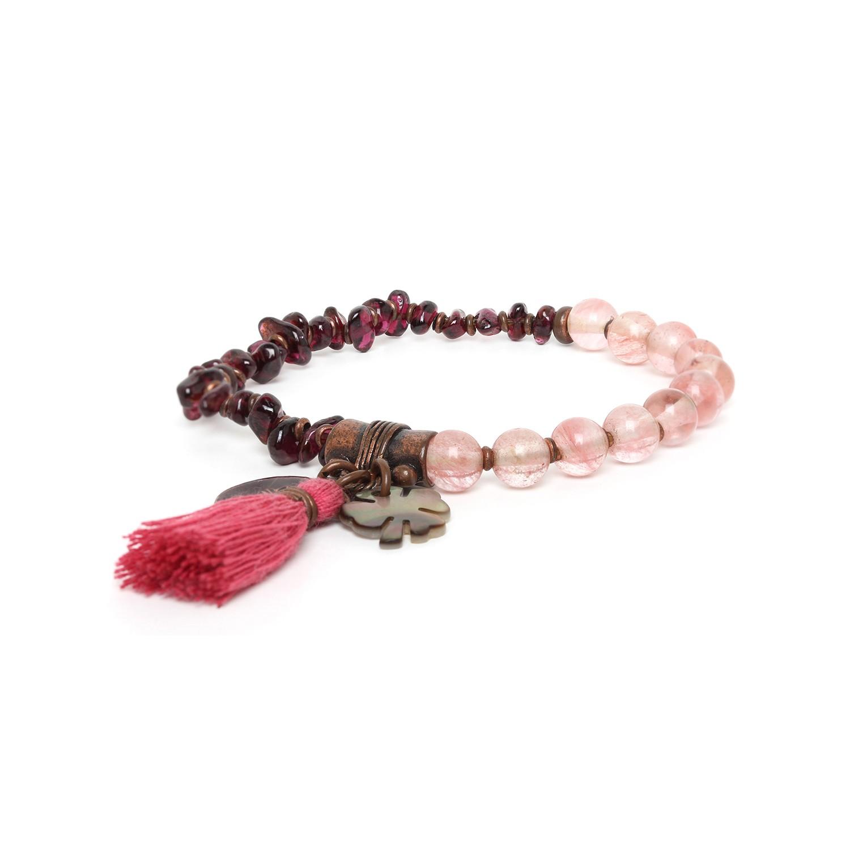 LES DUOS garnet/ quartz bracelet