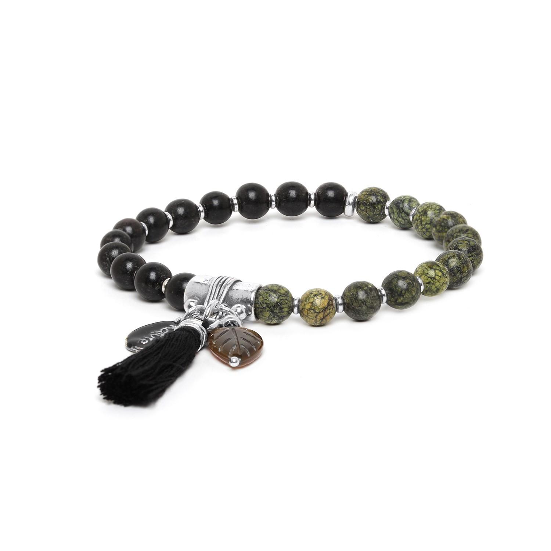 LES DUOS bracelet corne noire & jaspe vert