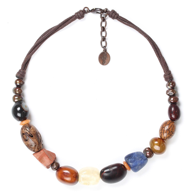 MALAWI necklace w/cord neckline