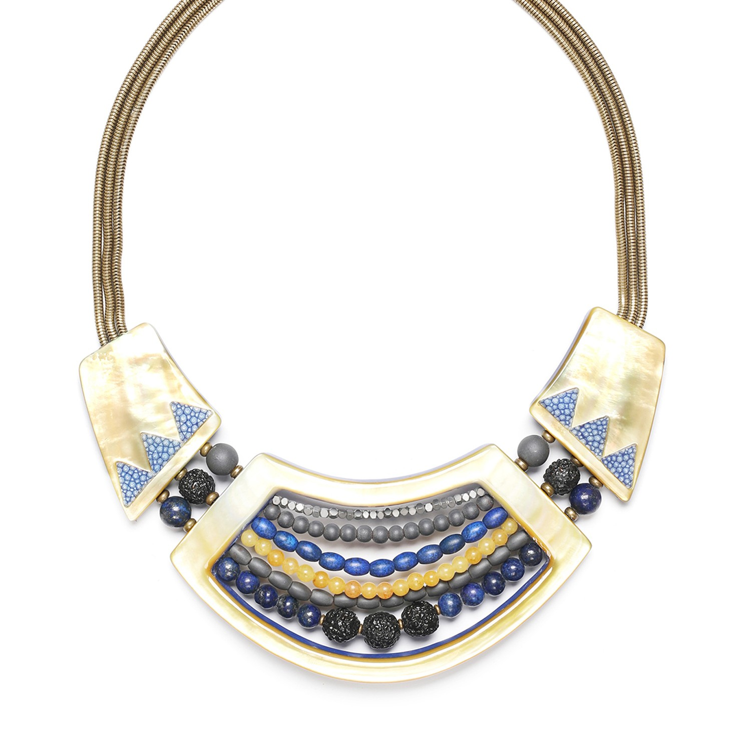BLUE TRIBE 3 elements necklace