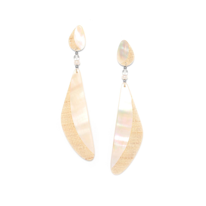 EL NIDO Pendiente XL, nácar, perla cultivo y cristal de roca