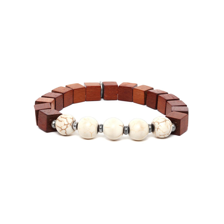 CUBES bracelet homme howlite blanche