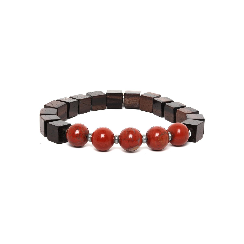 CUBES bracelet homme jaspe rouge