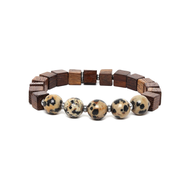 CUBES bracelet homme jaspe dalmatien