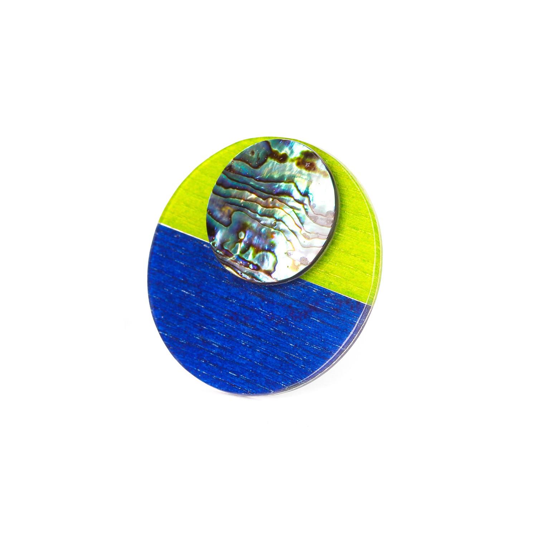 COLOR BLOC green & blue XL ring