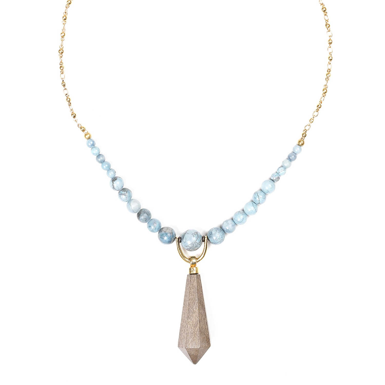 WOOD DIAMONDS grey wood necklace