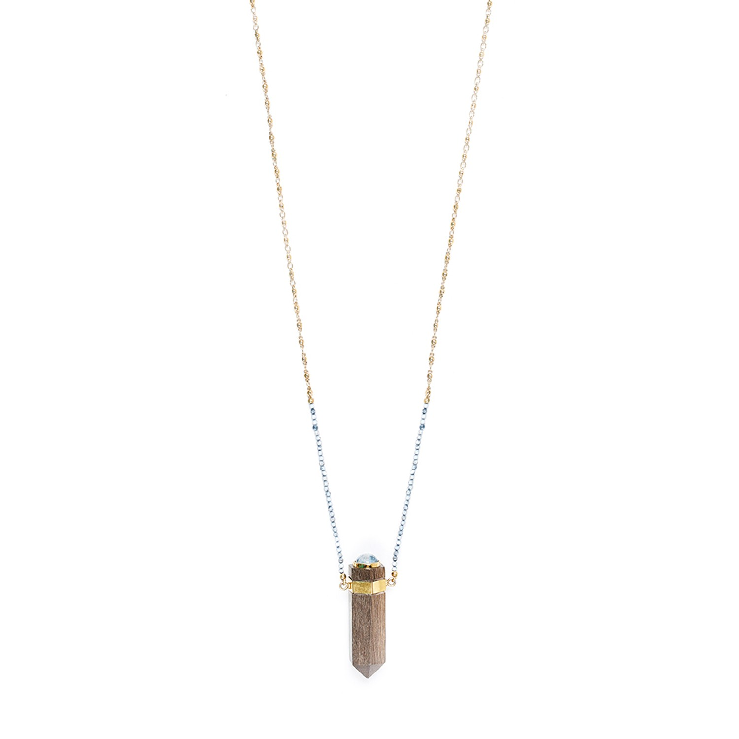 WOOD DIAMONDS collier long
