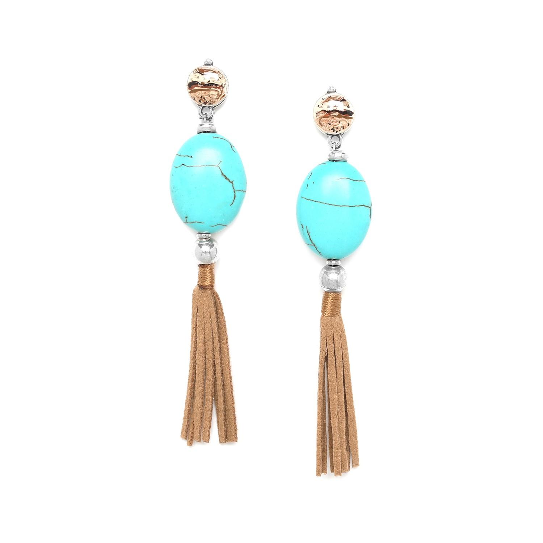 SURIGAO boucles d'oreilles grosse perle bleue ovale