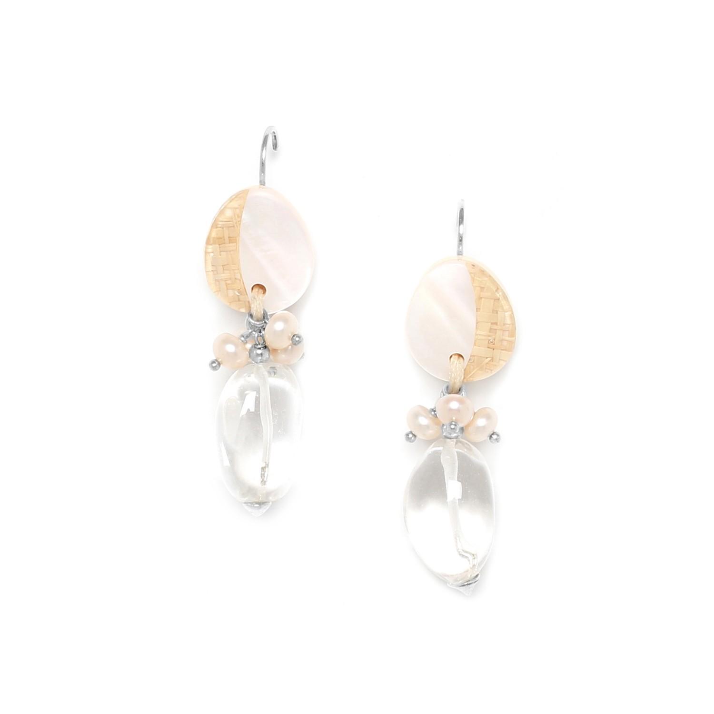 EL NIDO boucles d'oreilles gros cristal de roche