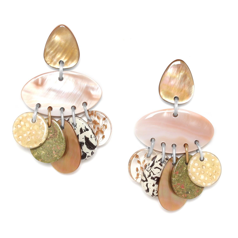 NATURALISTE boucles d'oreilles 5 pampilles