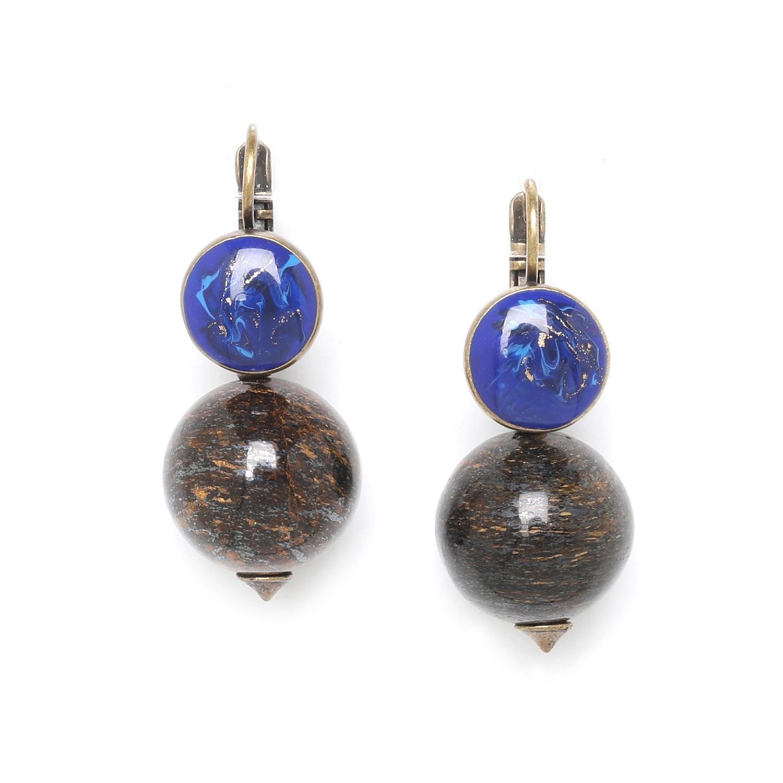 ALCHIMIE boucles d'oreilles perle ronde bronzite