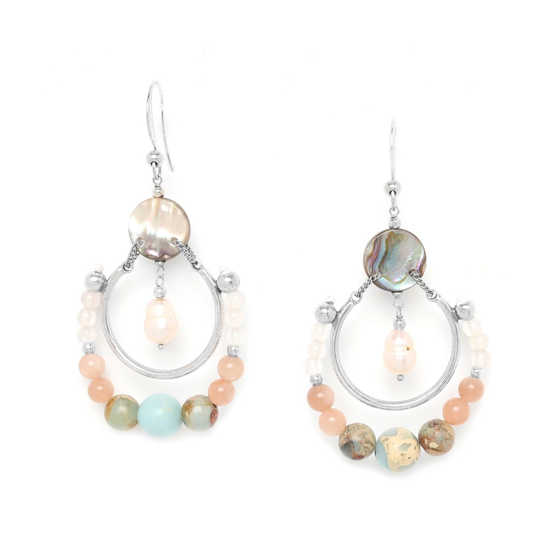 MANYARA boucles d'oreilles crochet anneau perlé