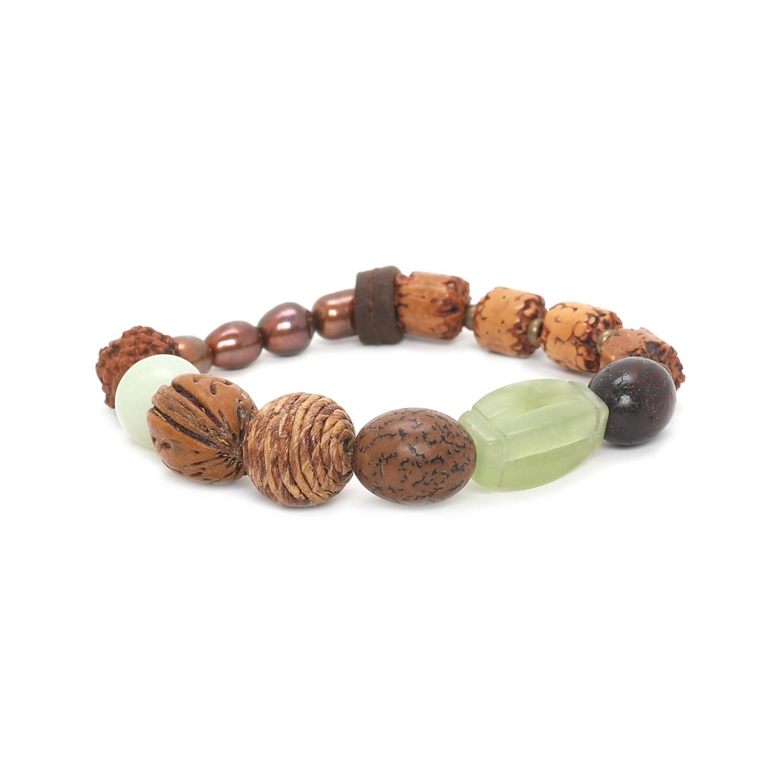 BURUNDI Pulsera elástica jade perla y semillas