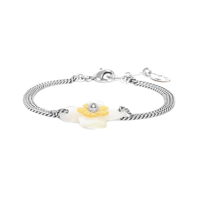 FLEURS DE NACRE bracelet nacre blanche