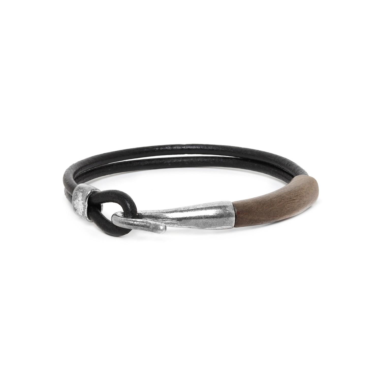 CROCHET bracelet homme ébène gris