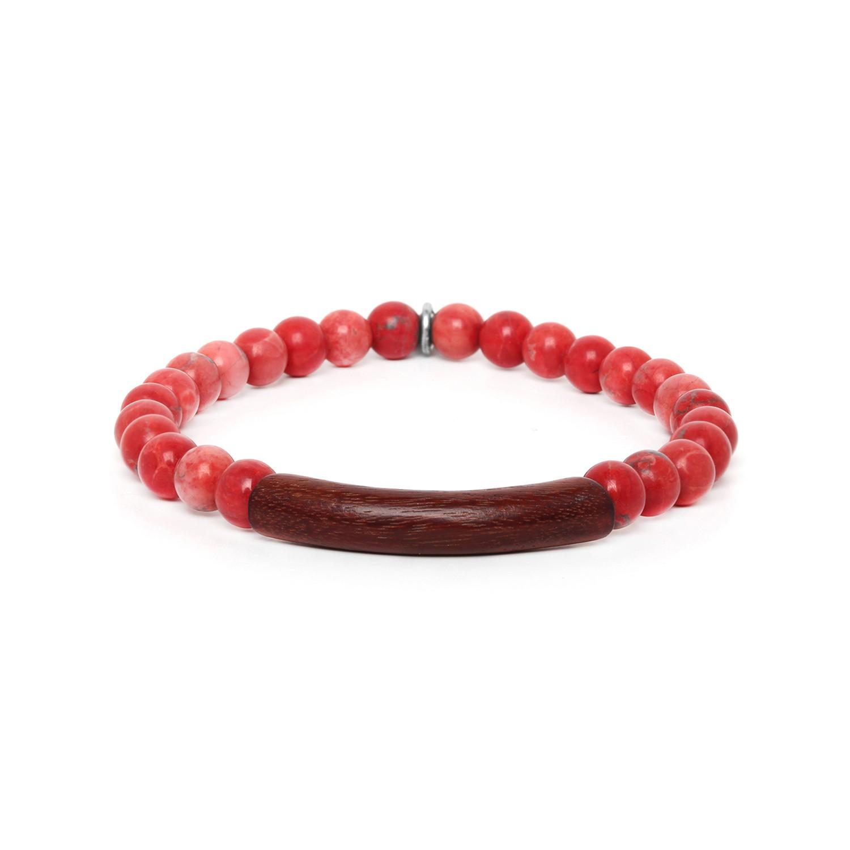 TUBE red howlite stretch men bracelet