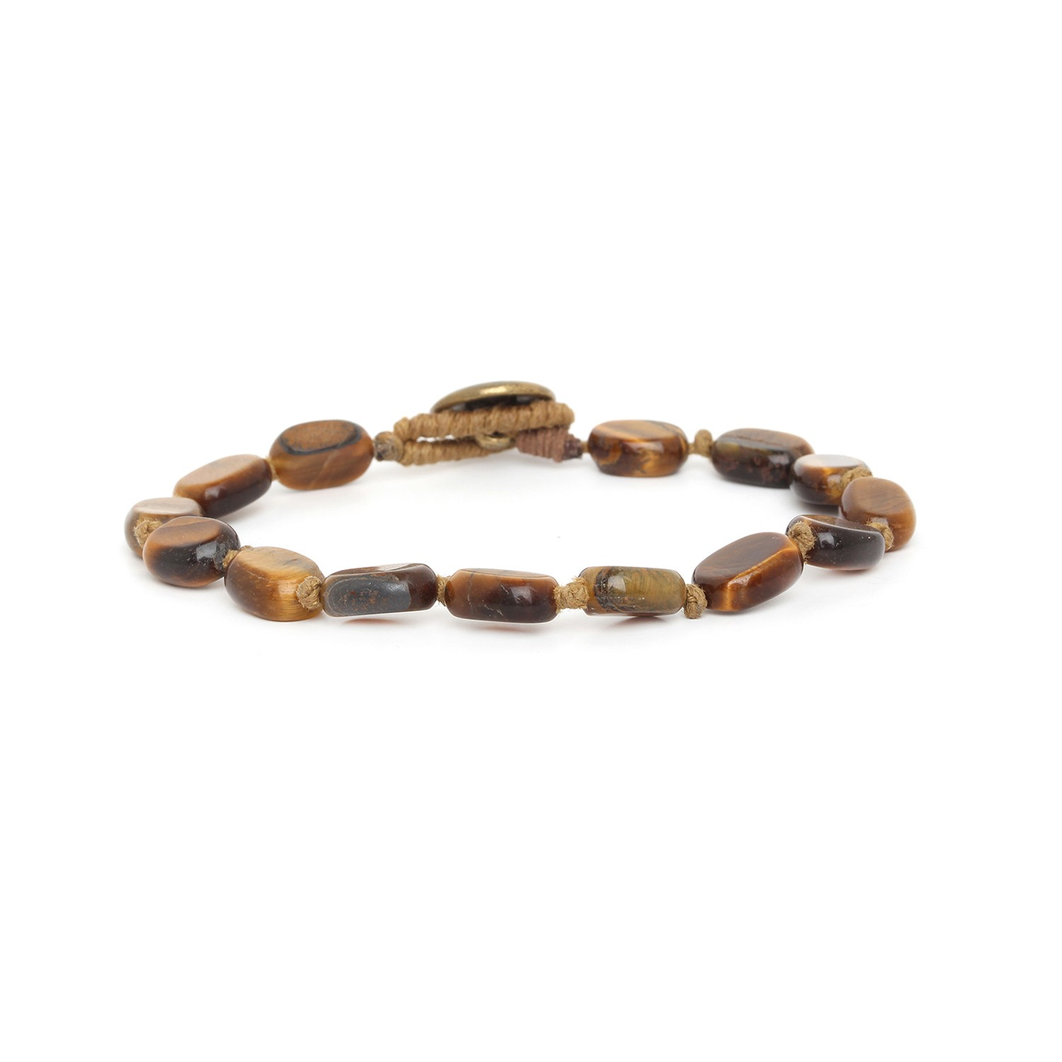 TIGER EYE small oval beads men bracelet