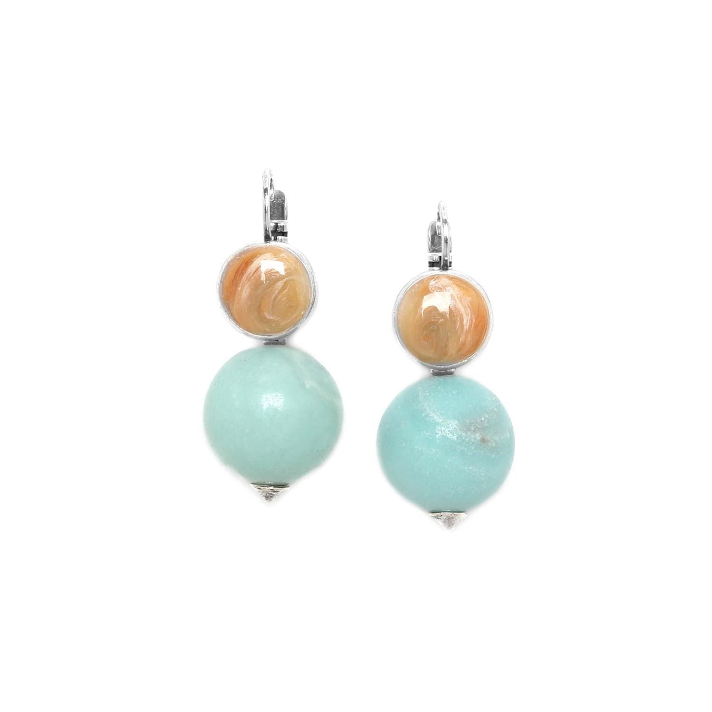 MANYARA boucles d'oreilles perle ronde amazonite
