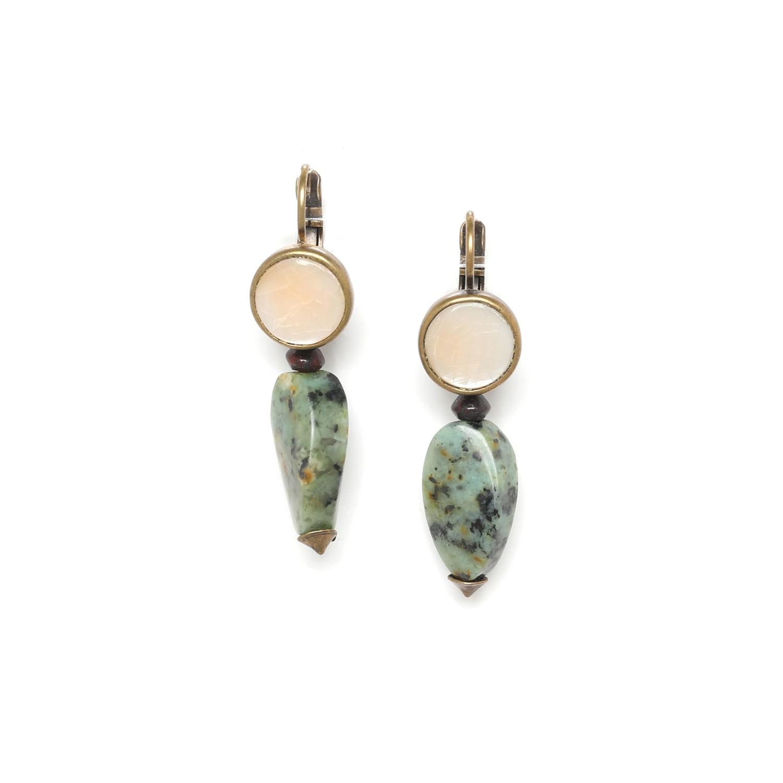 TARAWERA boucles d'oreilles perle turquoise torsadée