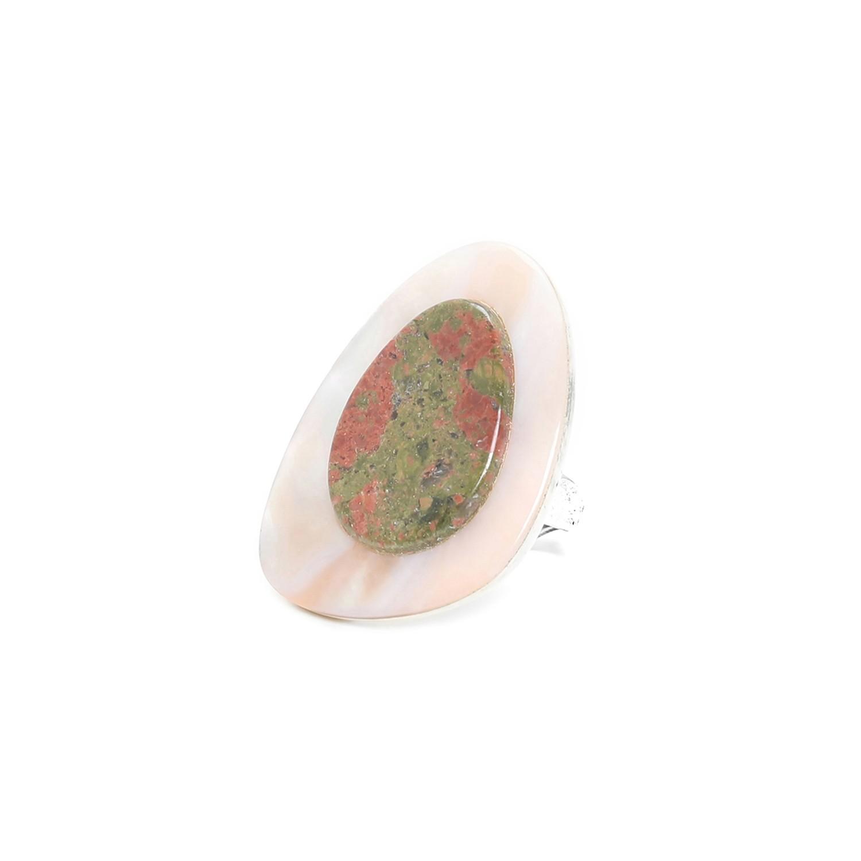 NATURALISTE  bague nacre perlière & unakite
