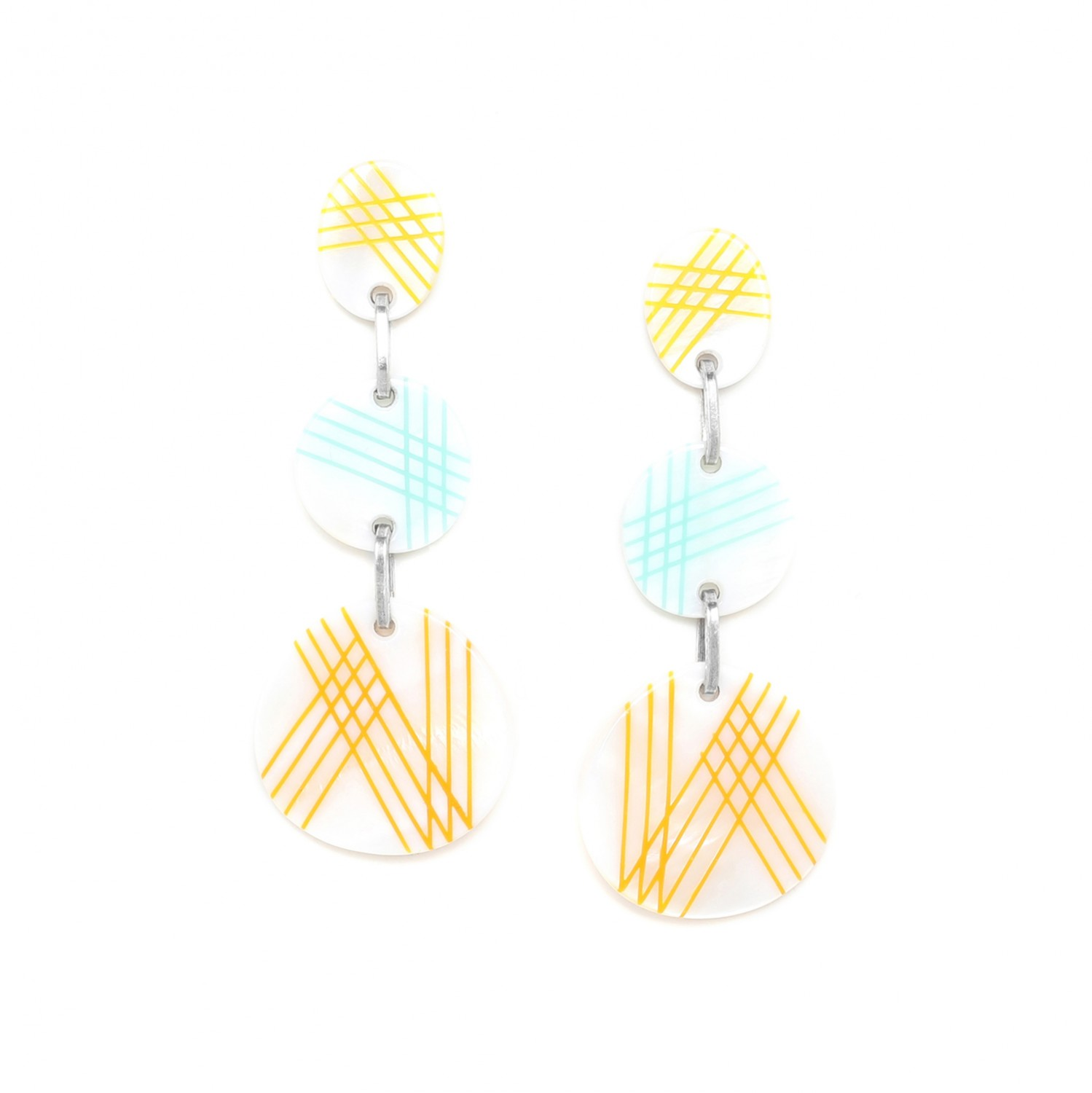 PAMPELONNE 3 pc earrings  w/yellow top