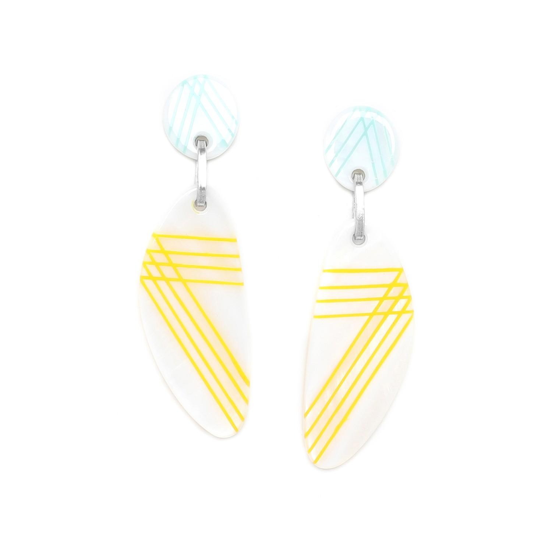 PAMPELONNE boucles d'oreilles jaunes top bleu