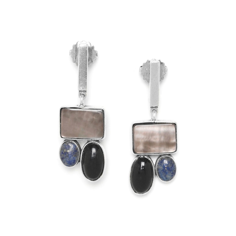TRESORS 3 element earrings w/stick top