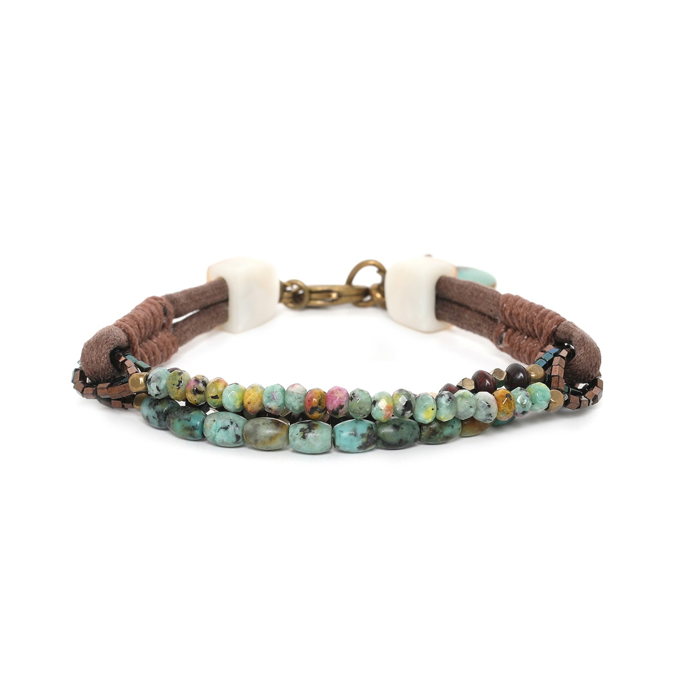 TARAWERA bracelet 3 rangs avec cordon