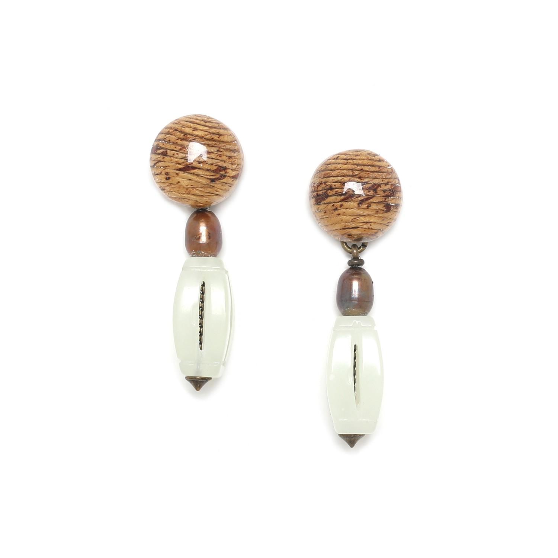 BURUNDI engraved jade bead earrings
