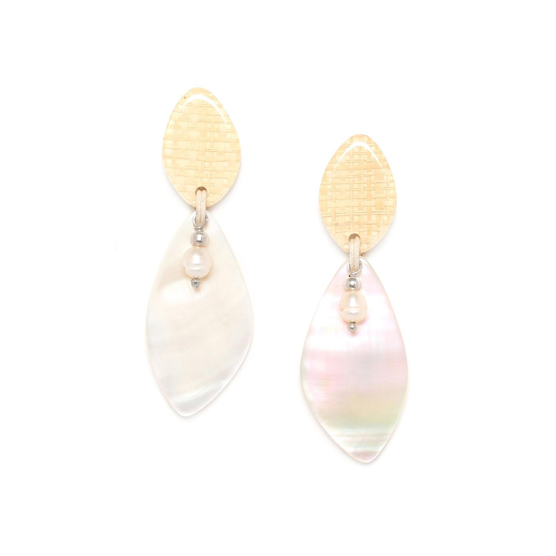 EL NIDO boucles d'oreilles feuille de nacre & perle