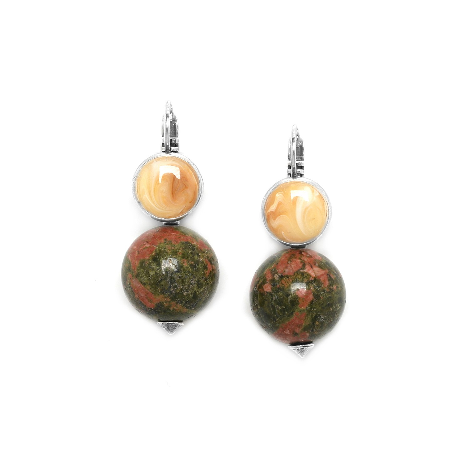 NATURALISTE unakite round bead earrings