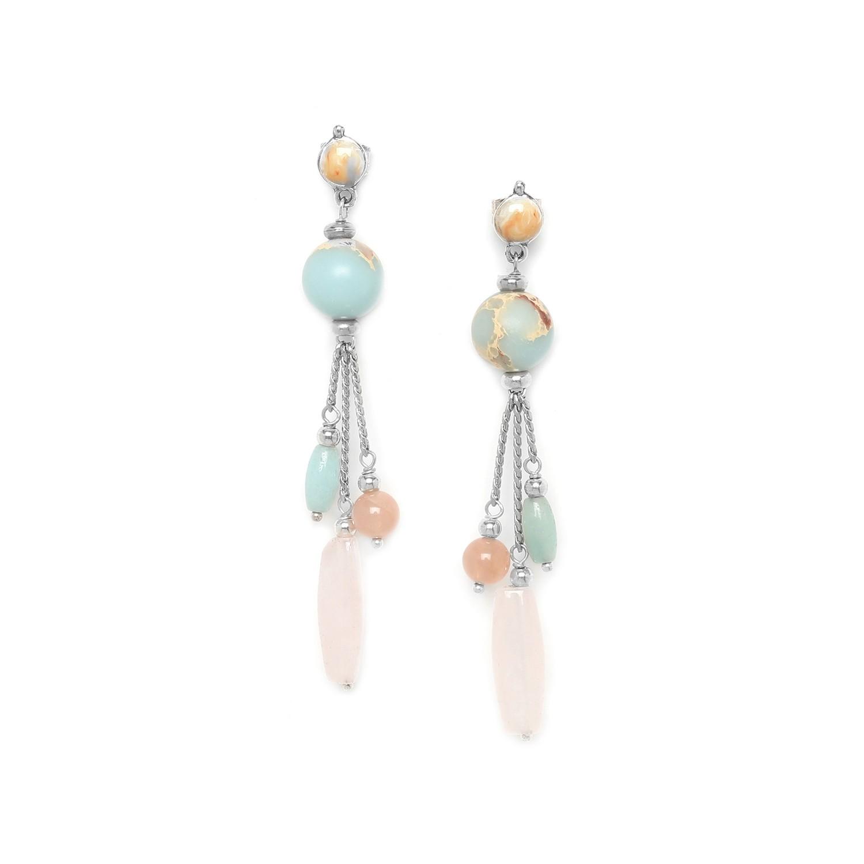 MANYARA 3 chain earrings w/round top