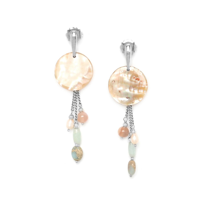 MANYARA 3 chain earrings w/haliotis disc