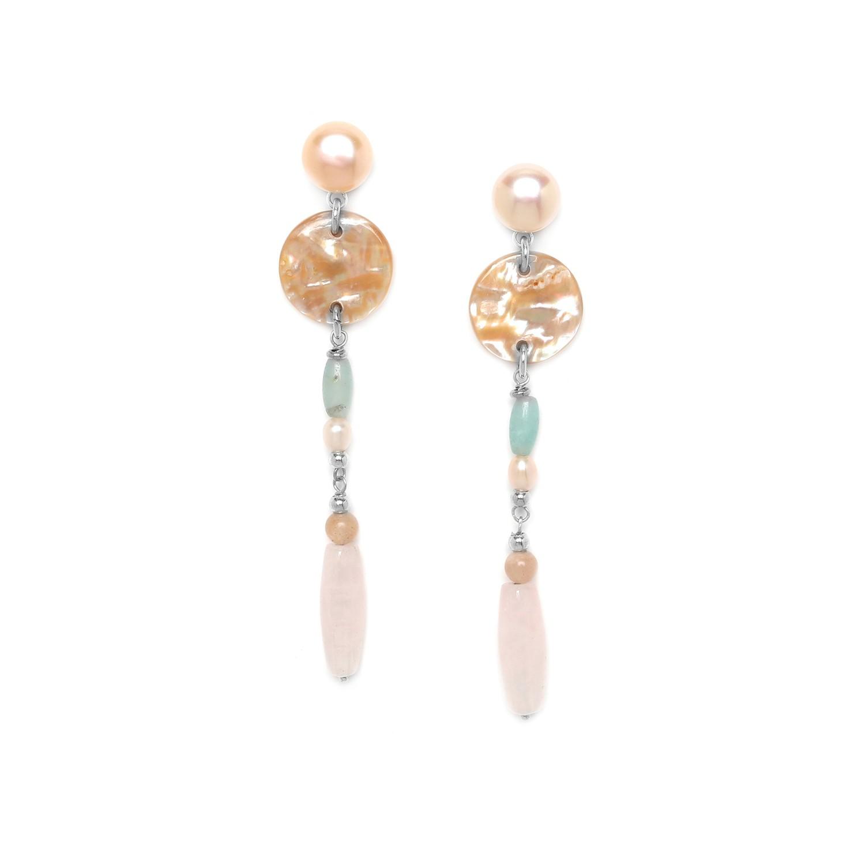 MANYARA longues boucles d'oreilles top perle
