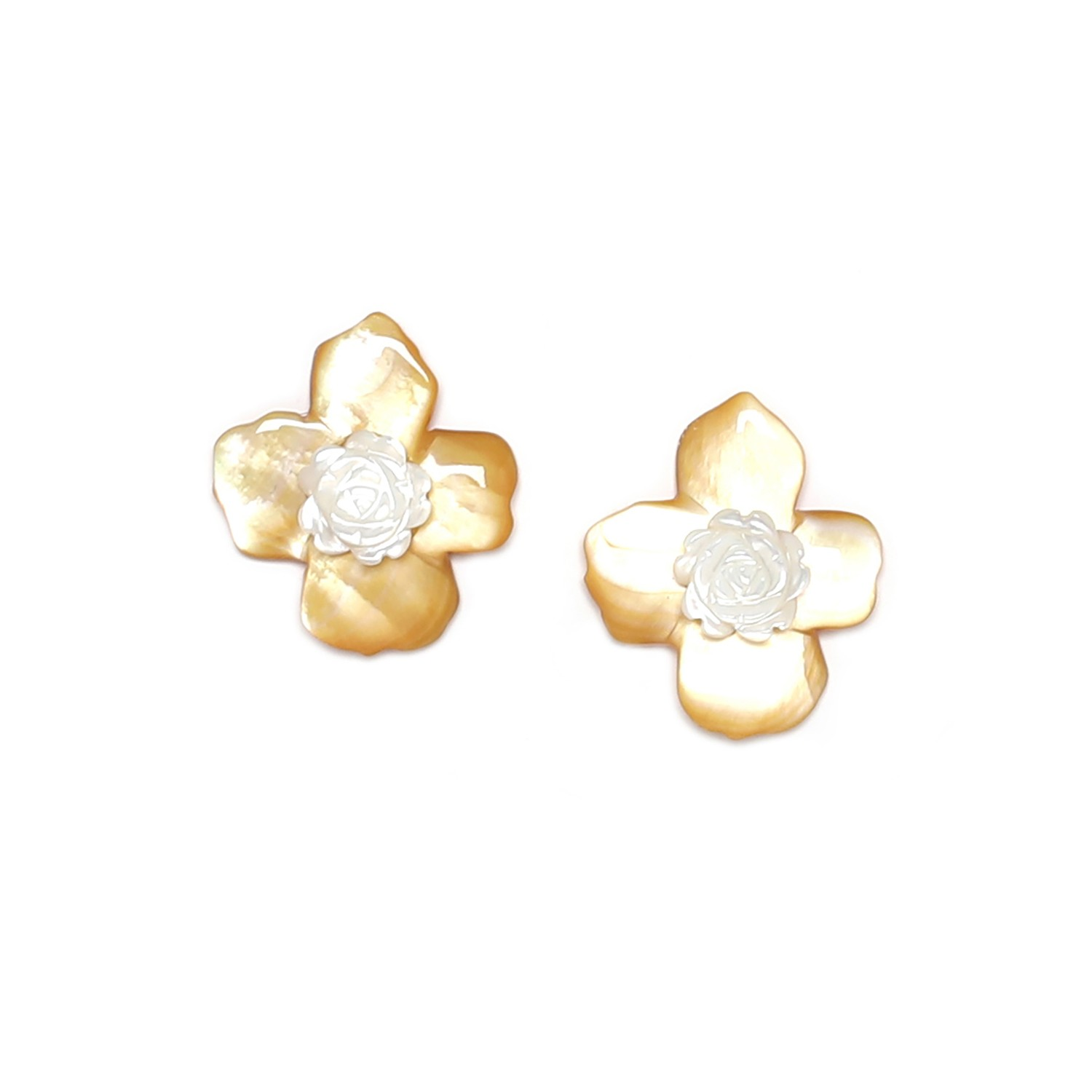 FLEURS DE NACRE golden MoP post earrings