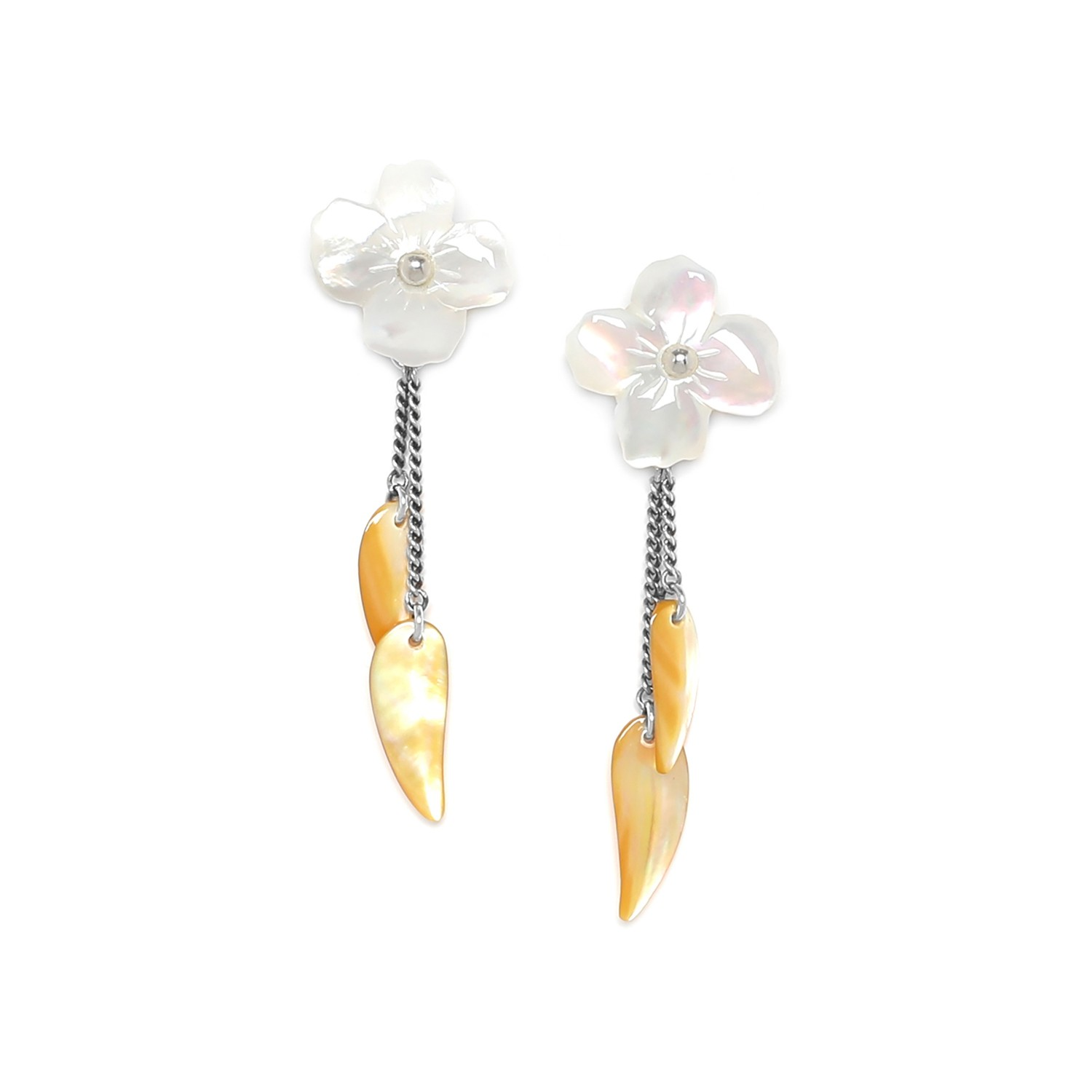 FLEURS DE NACRE white MoP earrings w/dangles