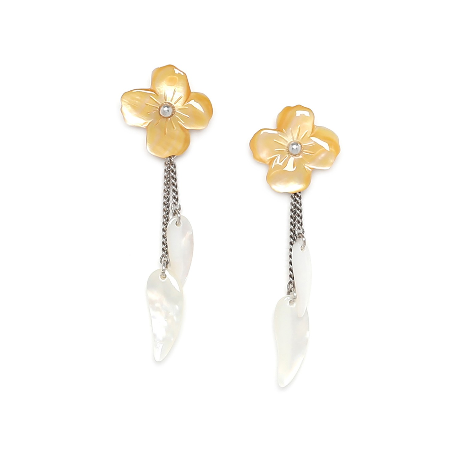 FLEURS DE NACRE  golden MoP earrings w/dangles