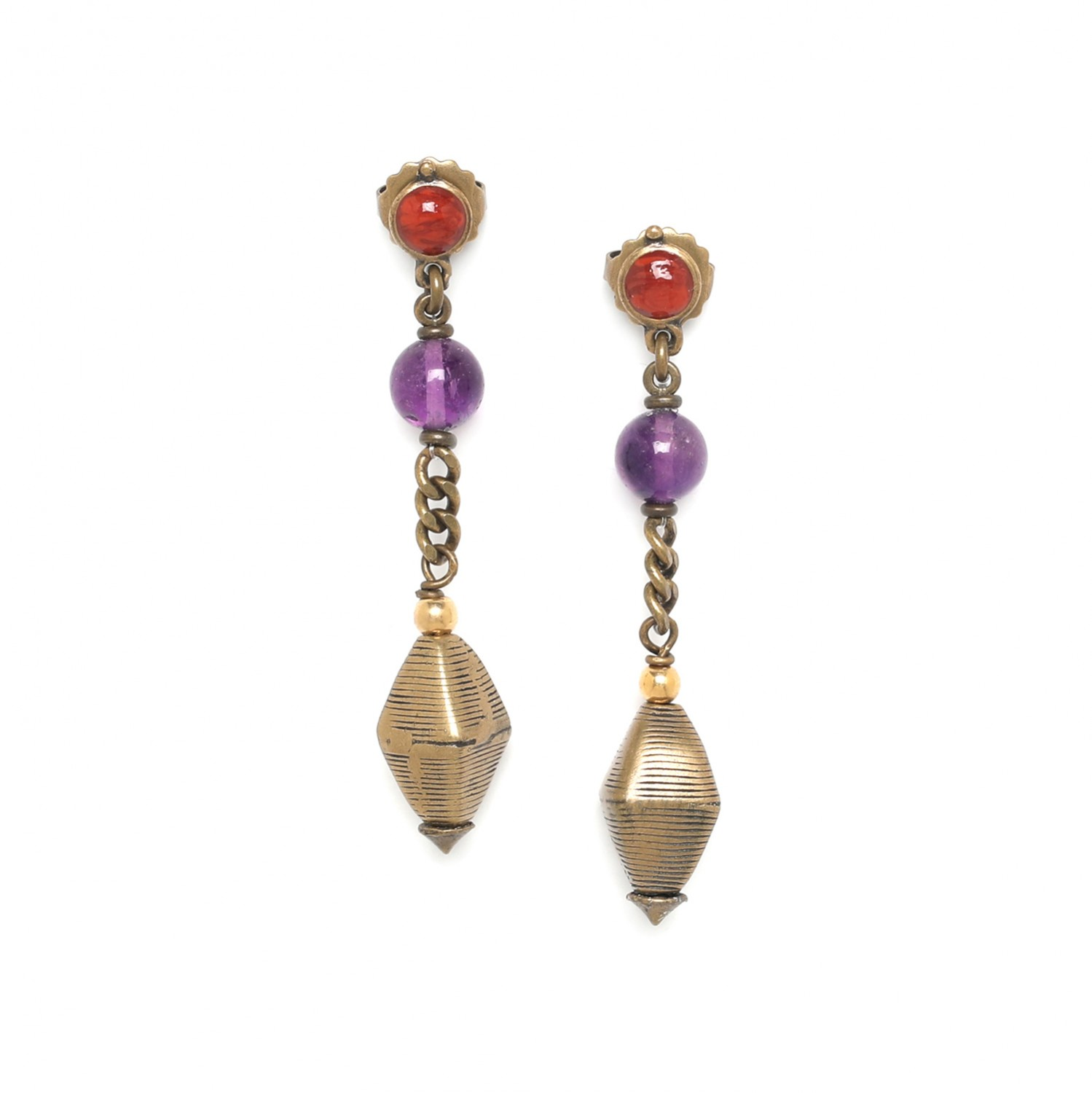 MELTING POT boucles d'oreilles perle laiton africaine
