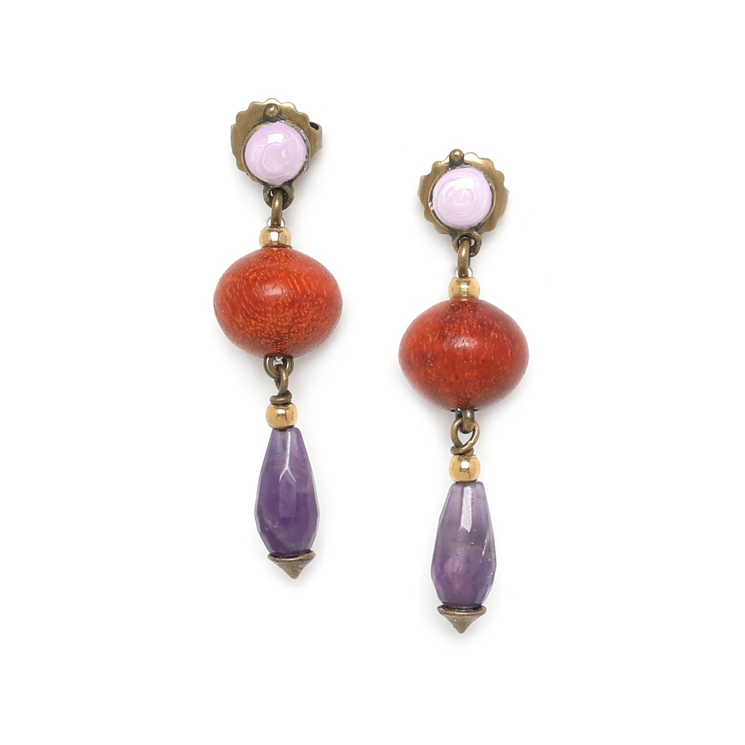 MELTING POT amethyst drop earrings