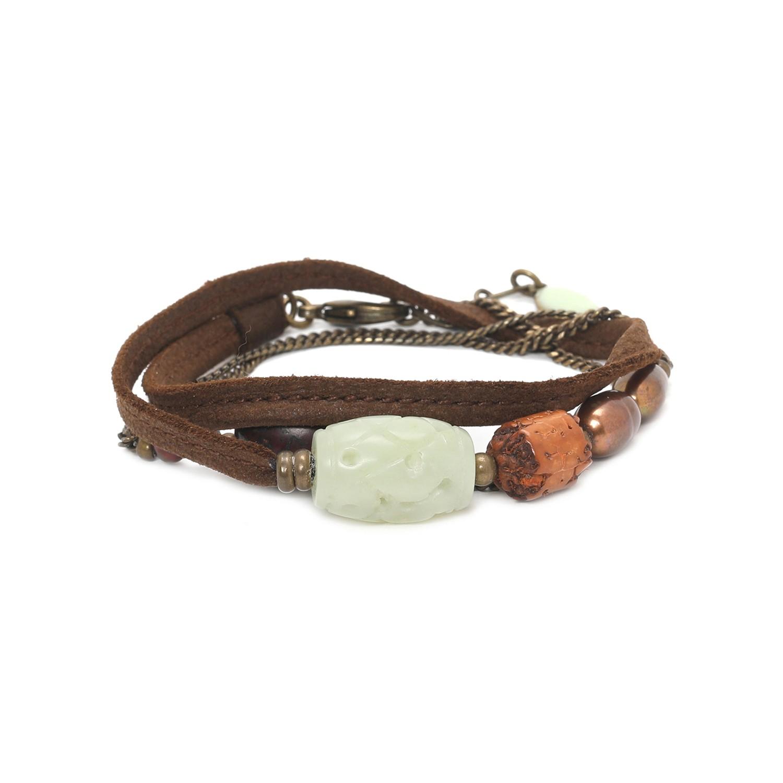 BURUNDI Pulsera cuero, jade y extensible