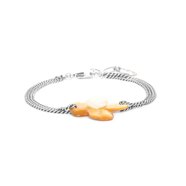 FLEURS DE NACRE bracelet nacre dorée