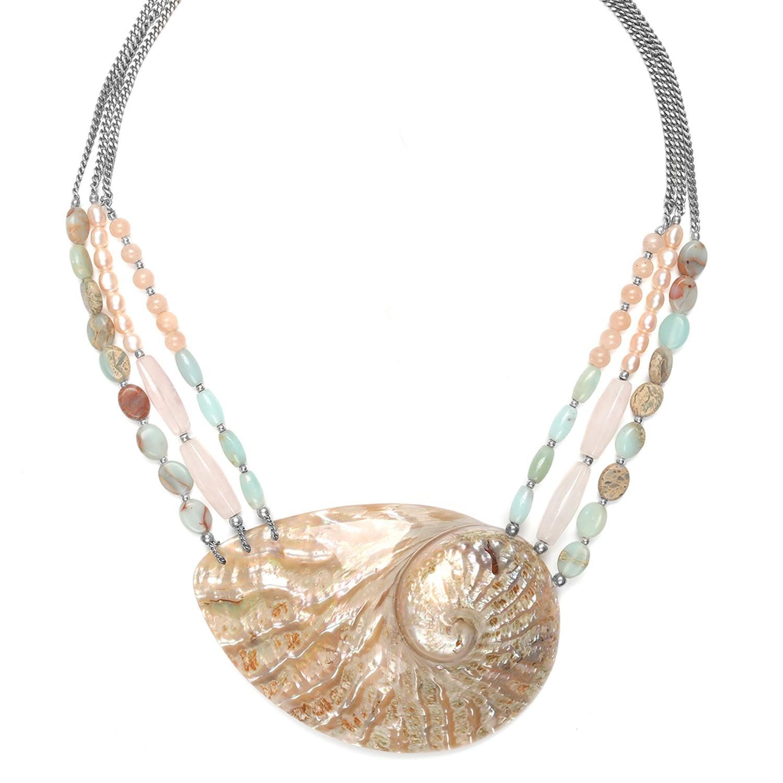 MANYARA 3 row & pendant necklace
