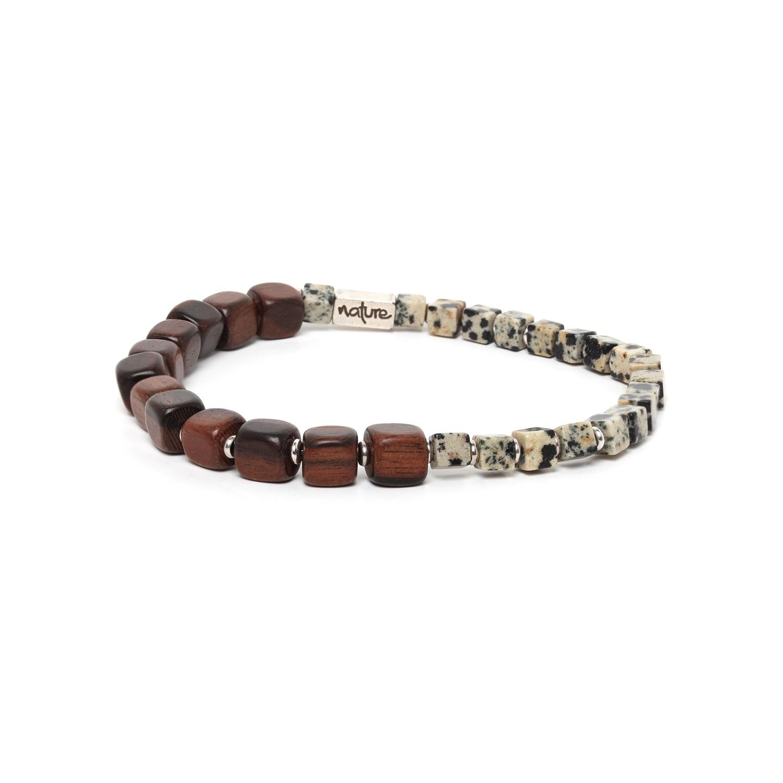 HALFWAY bracelet homme jaspe dalmatien & ébène